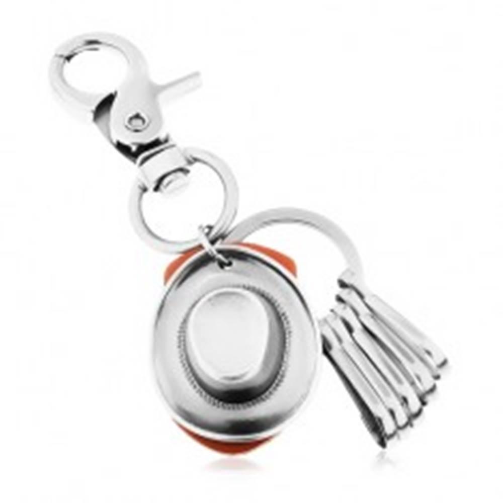 Šperky eshop Prívesok na kľúče s lesklým patinovaným povrchom a kovbojským klobúkom