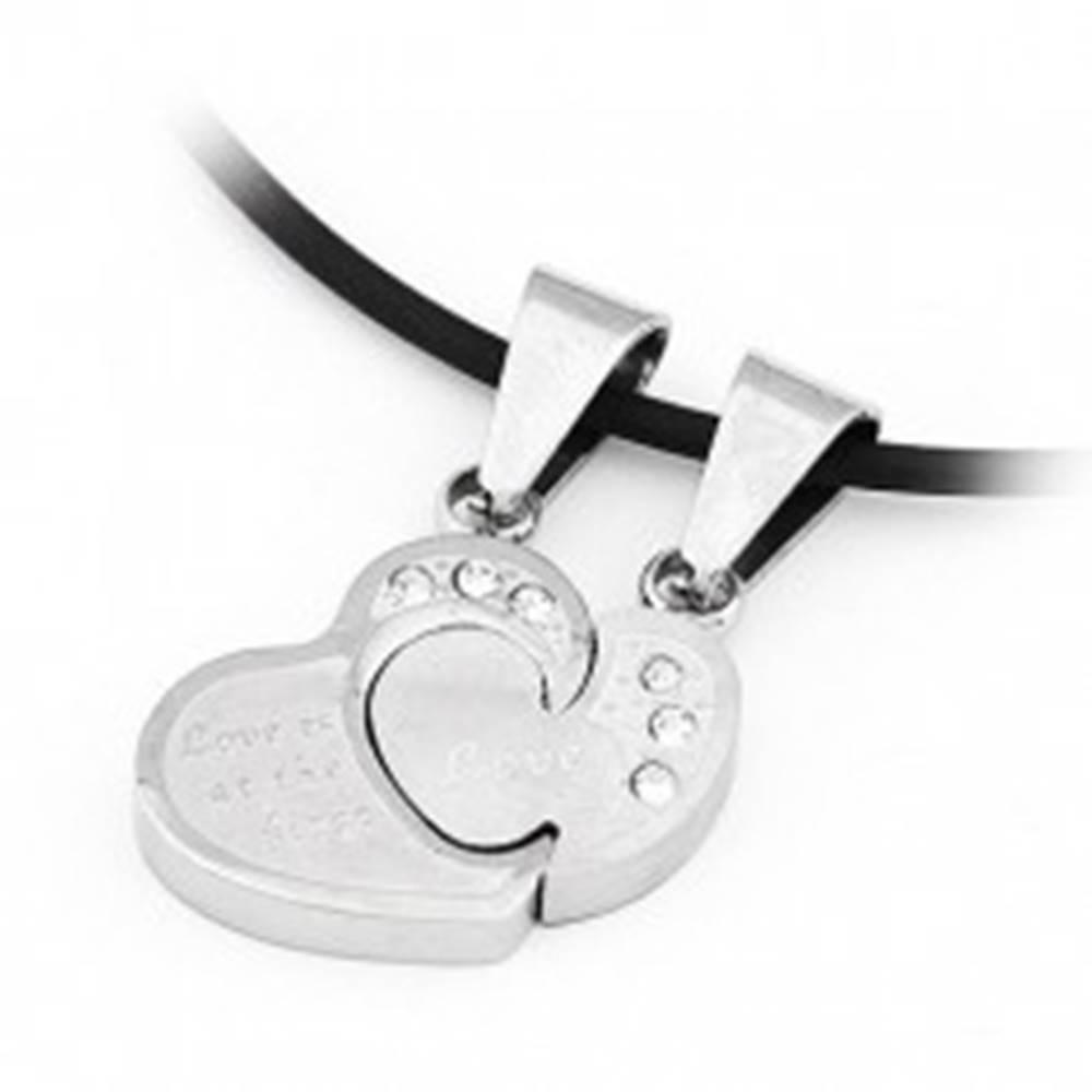 Šperky eshop Prívesok pre dvoch - skladačka, srdcia so zirkónmi