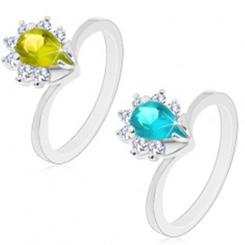Šperky eshop Prsteň v striebornej farbe, farebná zirkónová slza s čírym trblietavým lemom - Veľkosť: 51 mm, Farba: Zelená