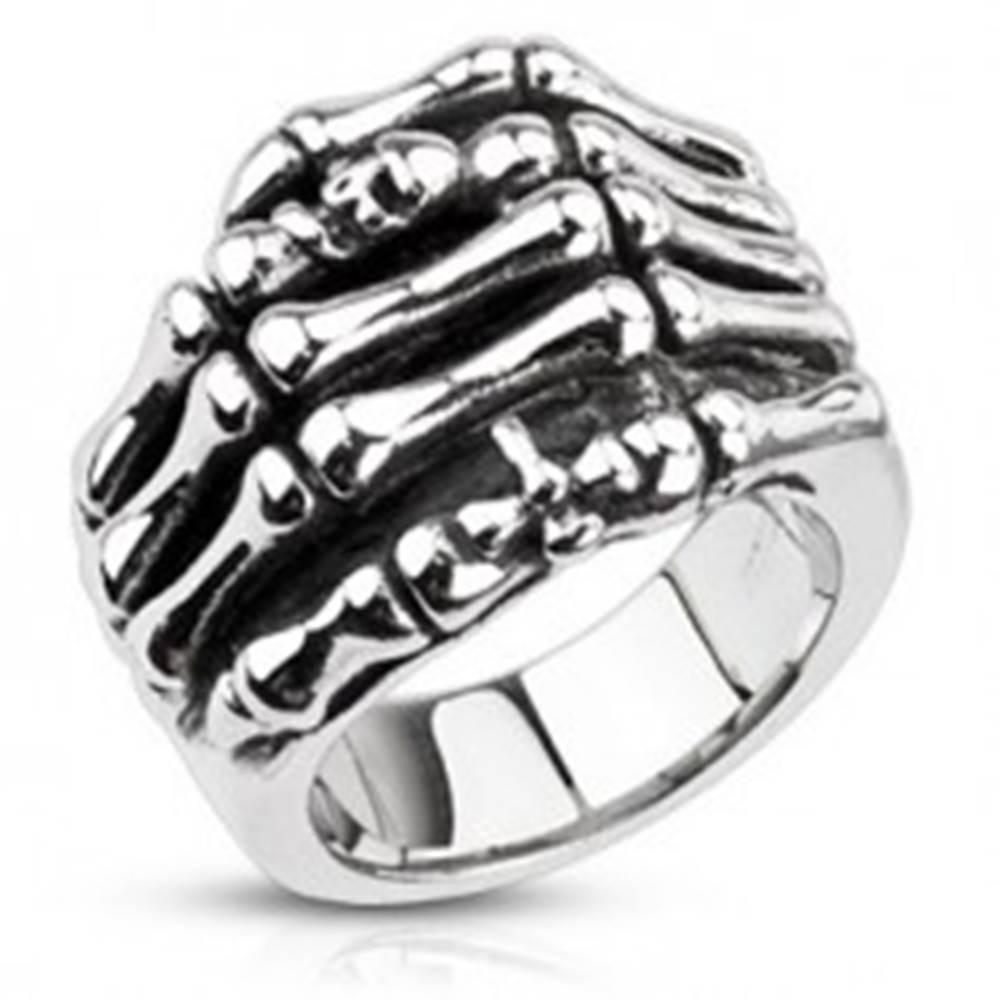 Šperky eshop Prsteň z ocele - kostra ruky - Veľkosť: 59 mm