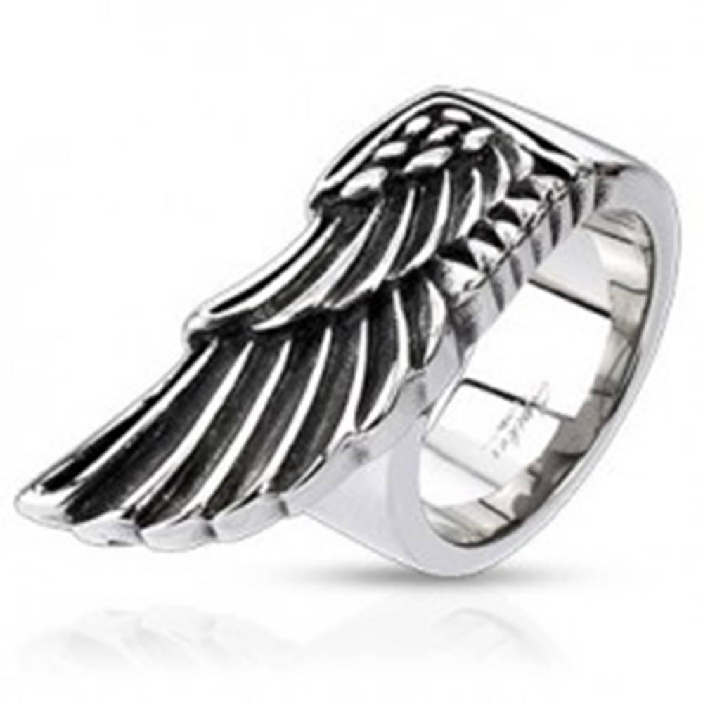 Šperky eshop Prsteň z ocele - veľké krídlo orla - Veľkosť: 59 mm