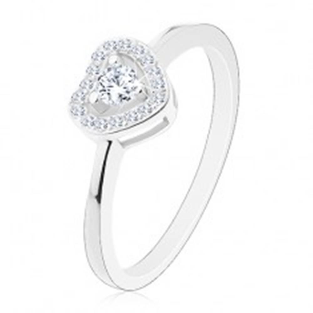 Šperky eshop Prsteň zo striebra 925, trblietavé číre srdiečko, okrúhly zirkón uprostred - Veľkosť: 50 mm