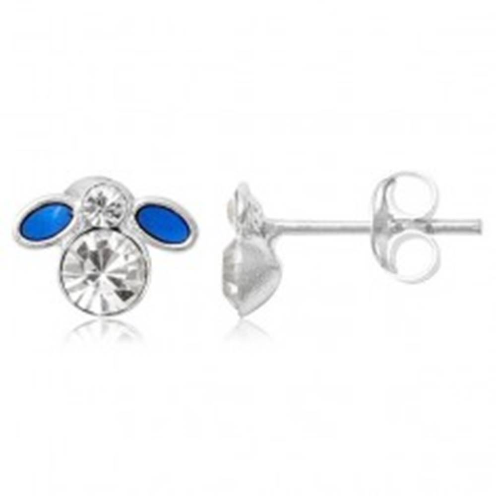 Šperky eshop Strieborné náušnice 925 - malá modrá muška so zirkónom