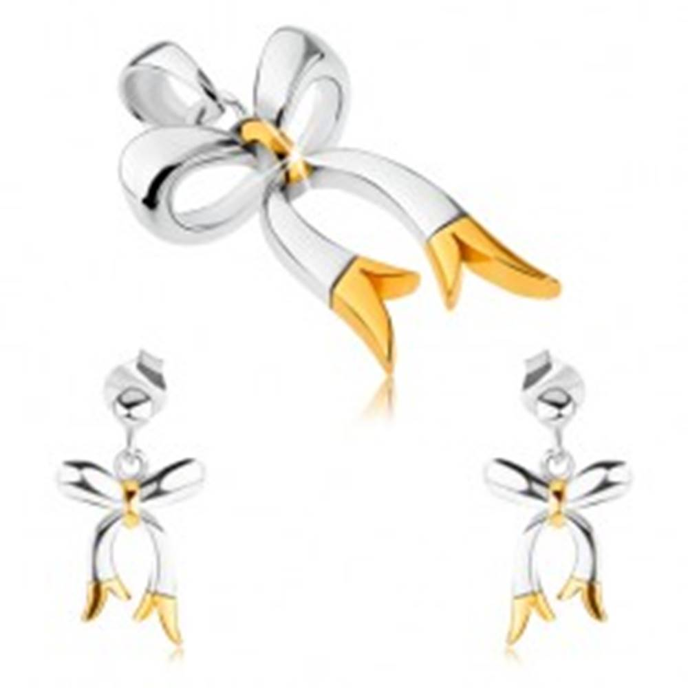 Šperky eshop Strieborný set 925 - prívesok a náušnice, lesklé dvojfarebné mašličky