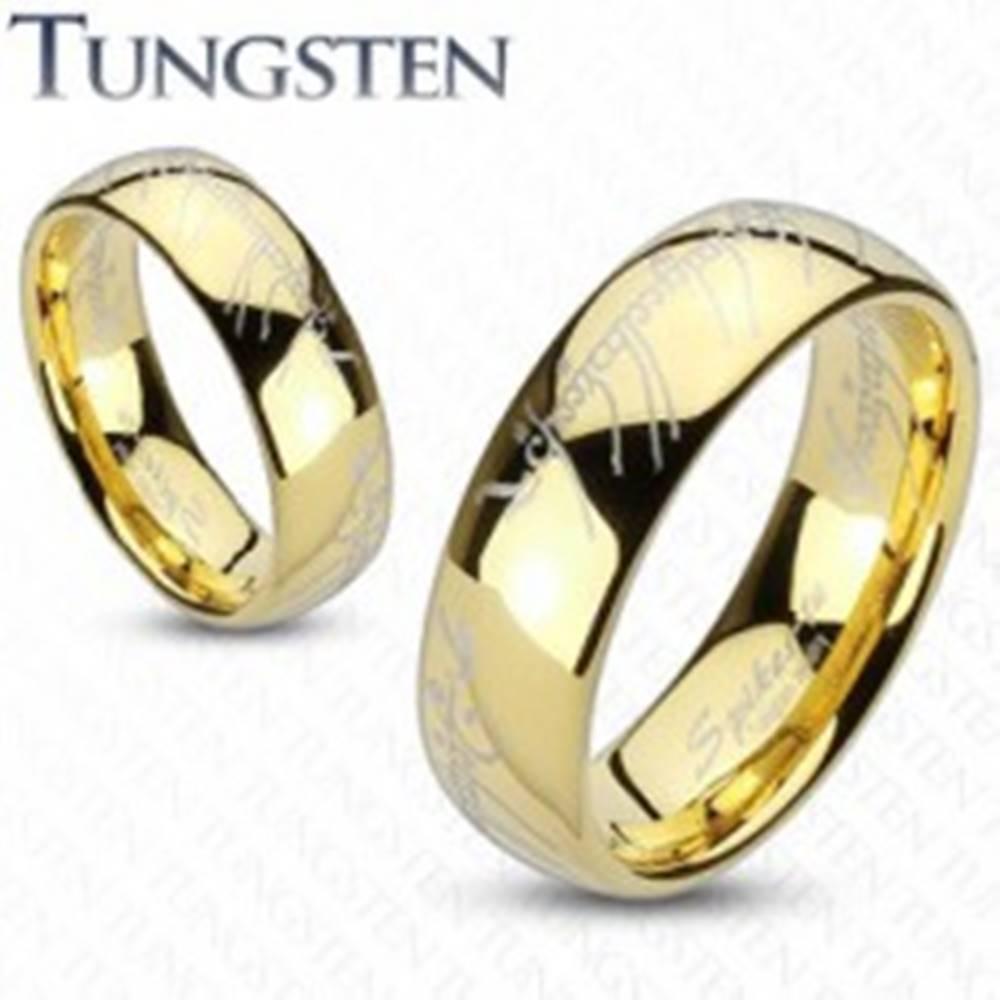Šperky eshop Wolfrámový prsteň so zlatým odtieňom, motív písma z Pána prsteňov, 8 mm - Veľkosť: 49 mm