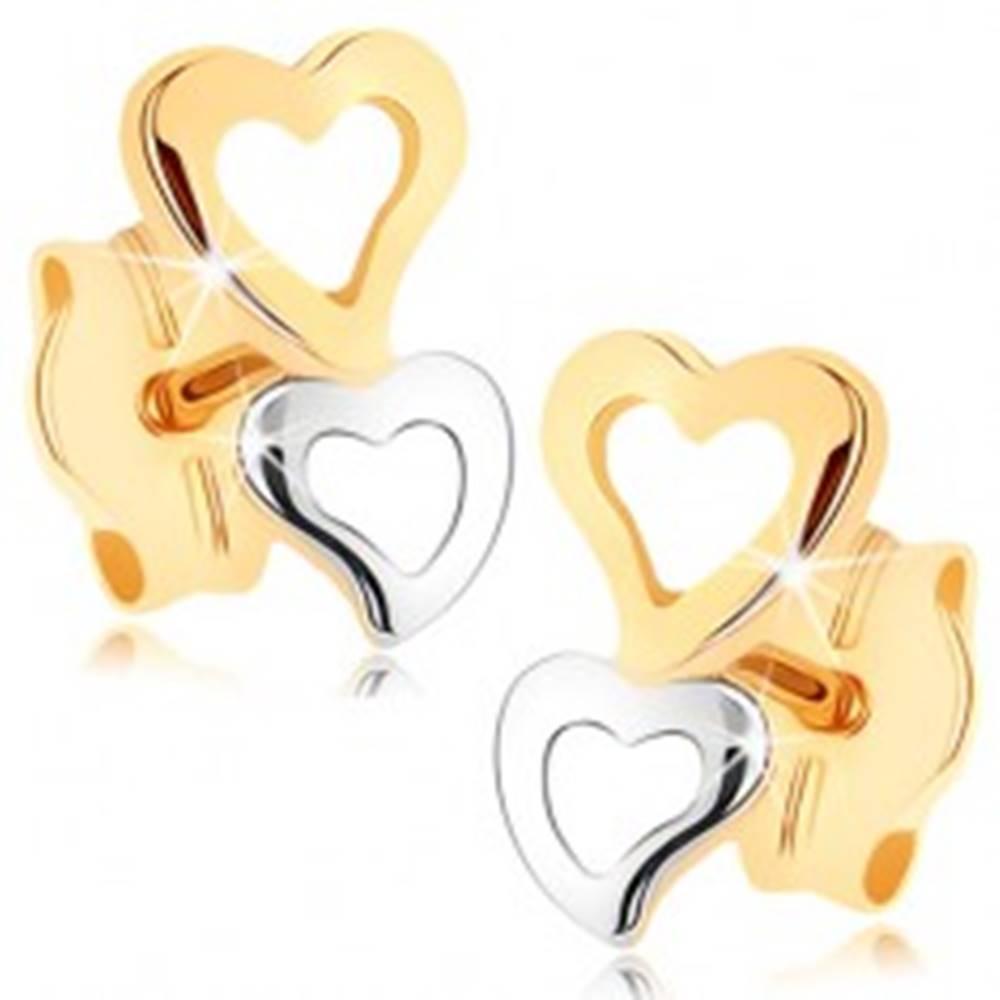 Šperky eshop Zlaté náušnice 375 - dve srdcové kontúry v dvojfarebnom prevedení