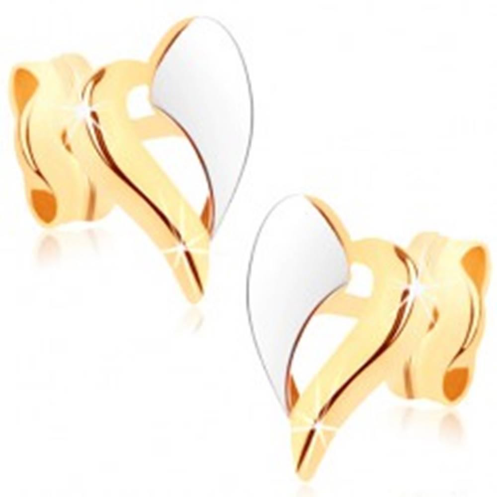 Šperky eshop Zlaté náušnice 375 - dvojfarebný obrys nepravidelného srdiečka, ródiované