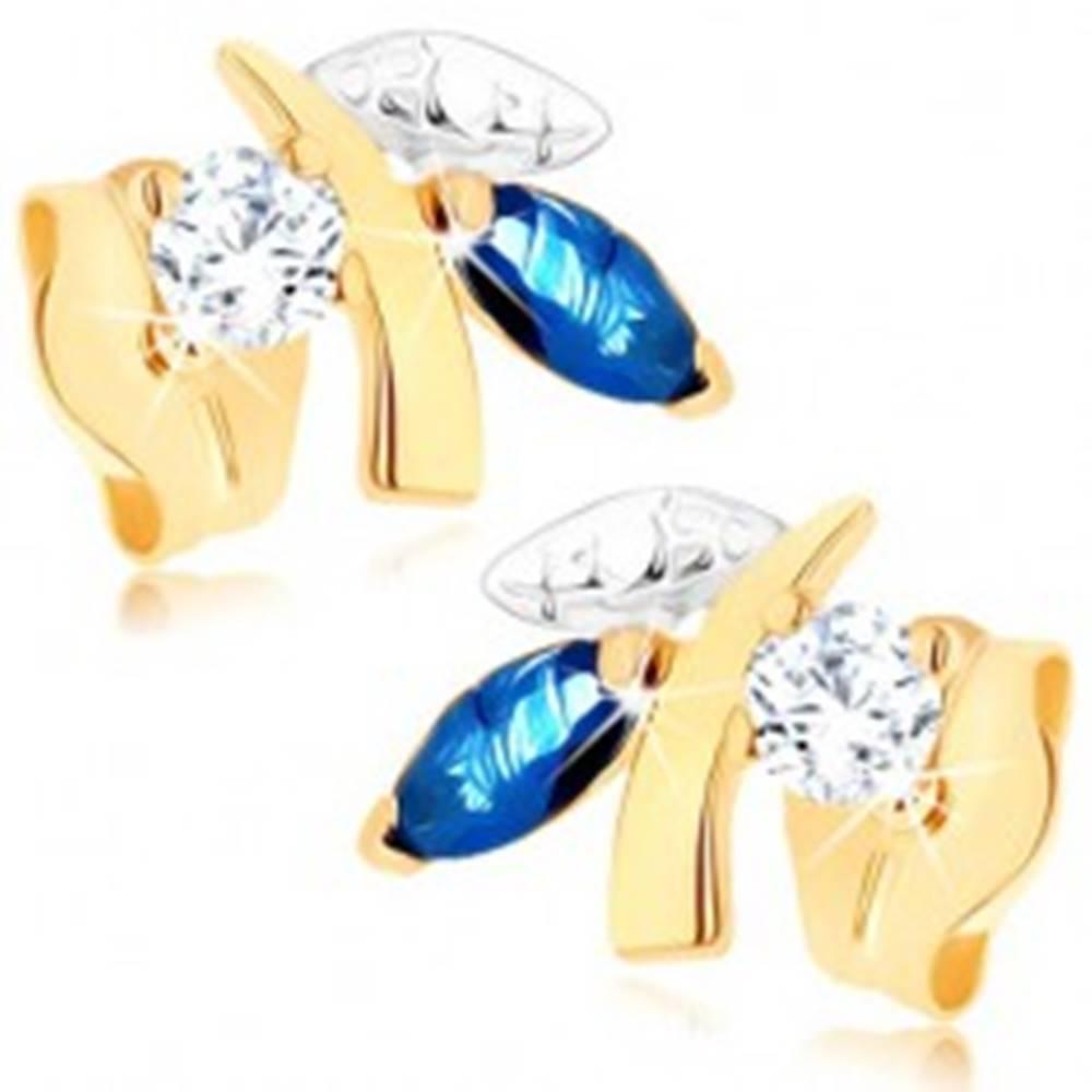 Šperky eshop Zlaté náušnice 375 - ligotavá vetvička s listami, modrý zafír, číry zirkónik