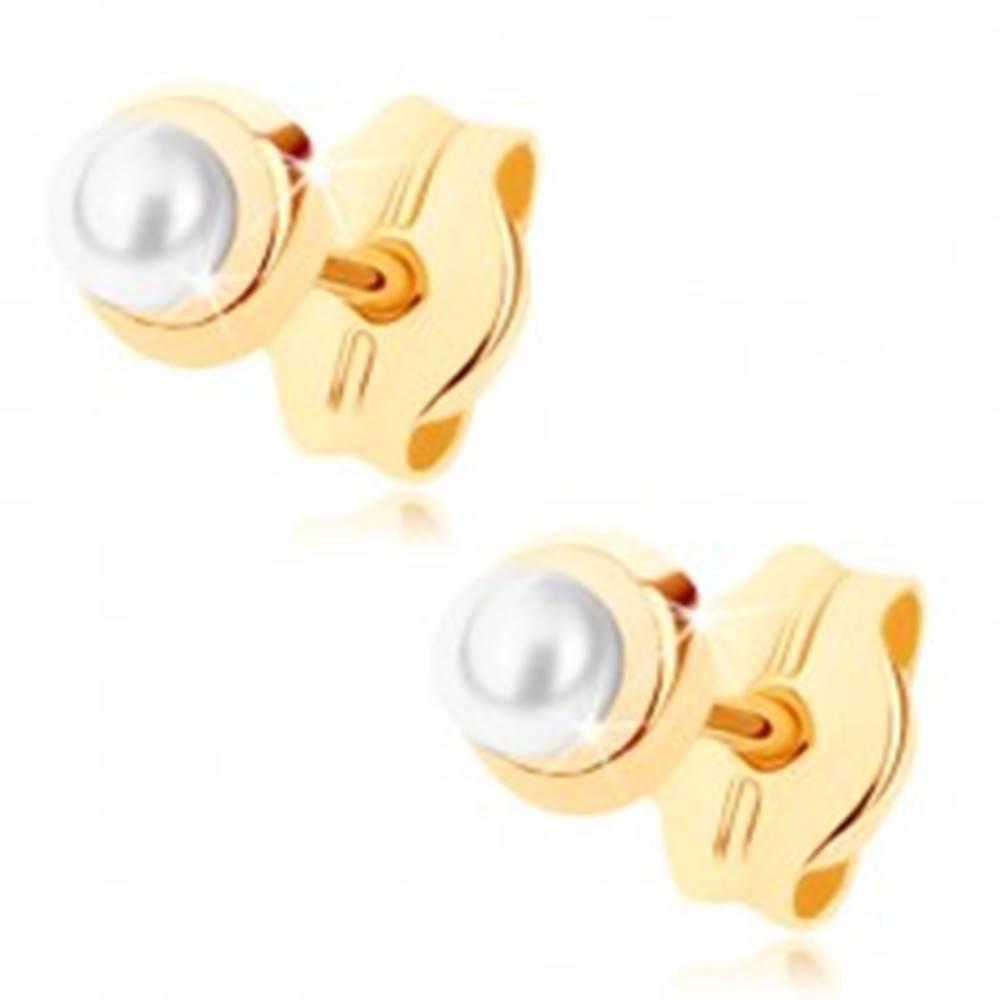 Šperky eshop Zlaté náušnice 375 - malý lesklý kruh s drobnou guľatou perličkou