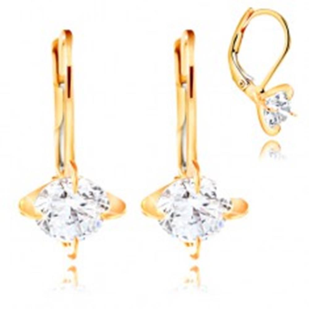 Šperky eshop Zlaté náušnice 585 - štyri oblúkové kolíky, okrúhly číry zirkón, 6 mm