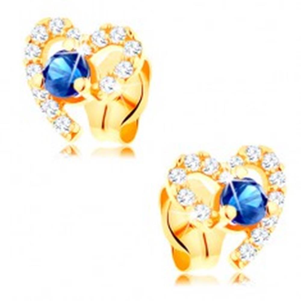 Šperky eshop Zlaté náušnice 585 - tmavomodrý zafír v neúplnej zirkónovej kontúre srdca