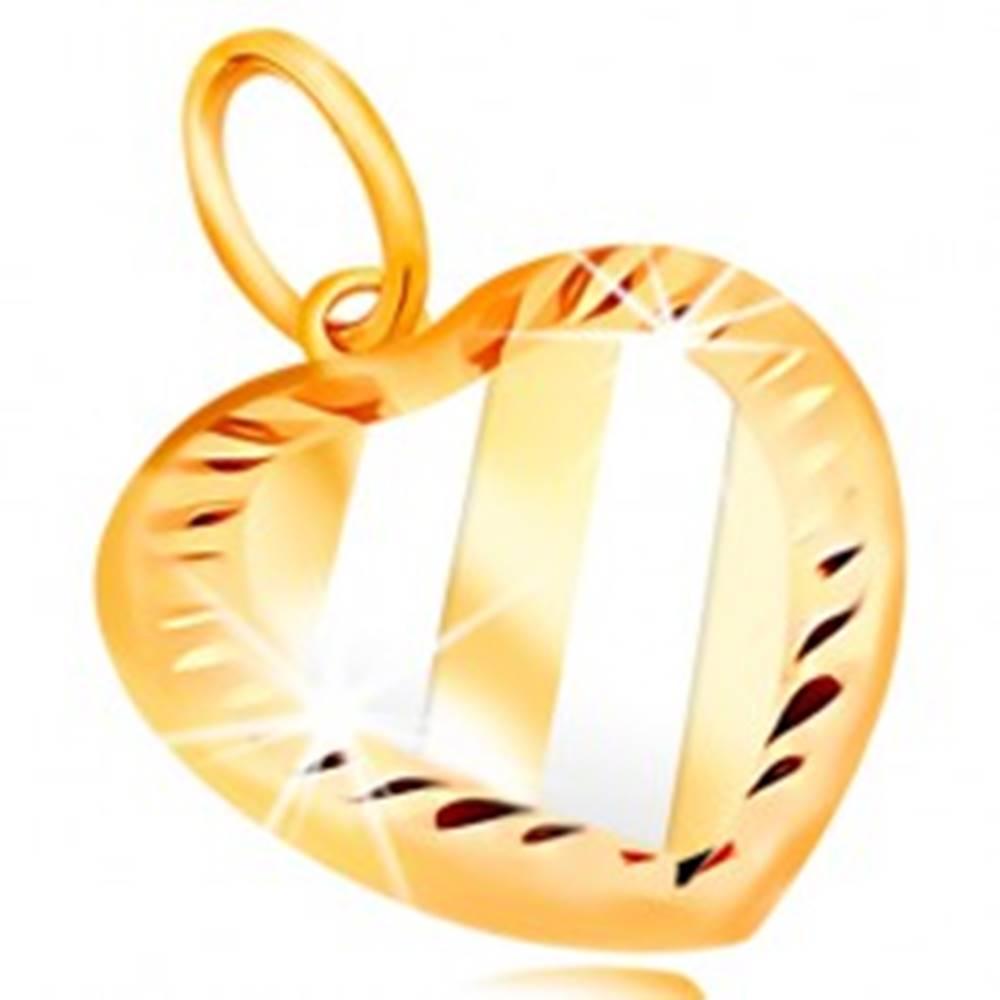 Šperky eshop Zlatý prívesok 14K - srdce so šikmými pásmi z bieleho zlata, zárezy po obvode
