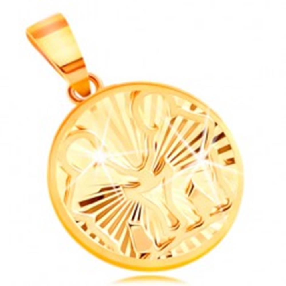 Šperky eshop Zlatý prívesok 585 - lesklé lúčovité zárezy, znamenie zverokruhu BLÍŽENCI