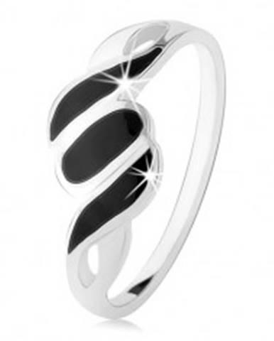 Strieborný 925 prsteň, hladké ramená, šikmé línie a ovál, čierny ónyx HH5.5 - Veľkosť: 49 mm