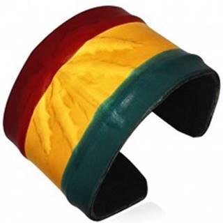 Kožený RASTA náramok - vystúpená marihuana, farby Jamajky