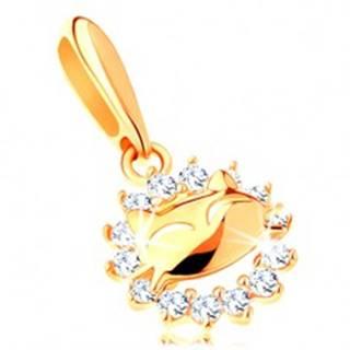 Ligotavý prívesok v žltom 14K zlate - zirkónová kontúra kruhu, mačička
