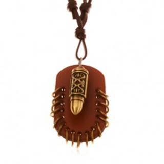 Náhrdelník z umelej kože, prívesky - hnedý ovál s krúžkami a náboj