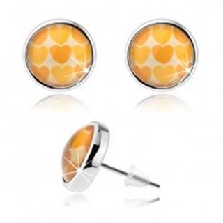 Náušnice cabochon, vypuklé číre sklo, žlté a oranžové srdiečka