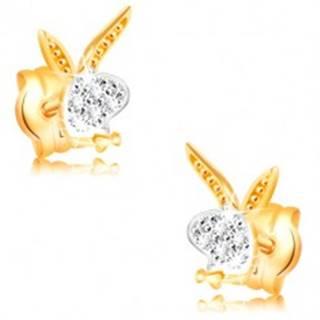 Náušnice v 14K zlate - hlava zajačika, biele a žlté zlato, zirkóny