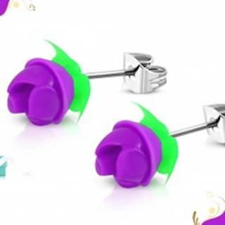 Náušnice z chirurgickej ocele, fialová silikónová ružička, zelené lístky