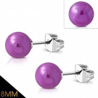 Náušnice z chirurgickej ocele, fialové guľôčky s metalickým odleskom