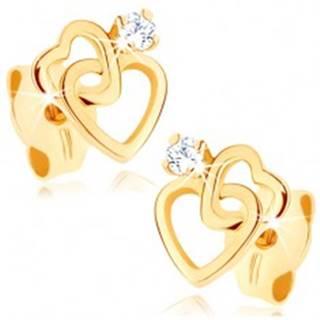Náušnice zo žltého 9K zlata - dve tenké srdcové kontúry, zirkónik čírej farby
