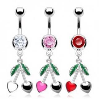 Oceľový piercing do pupka - farebný zirkón, srdiečkové čerešne - Farba zirkónu: Červená - R