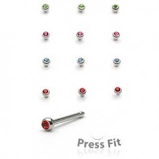 Piercing do nosa rovný - okrúhly vsadený kamienok - Farba zirkónu: Červená - R