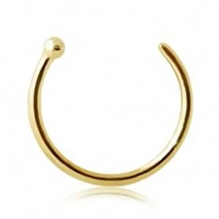 Piercing do nosa zo žltého 9K zlata - lesklý krúžok ukončený guličkou - Hrúbka x priemer: 0,6 mm x 6 mm