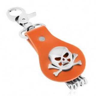 Prívesok na kľúče z ocele a hnedej kože, lebka s prekríženými kosťami