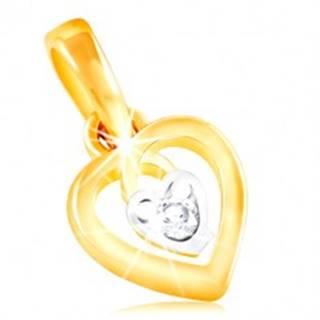 Prívesok zo 14K zlata - kontúra srdca a malé srdiečko s čírym zirkónom v strede