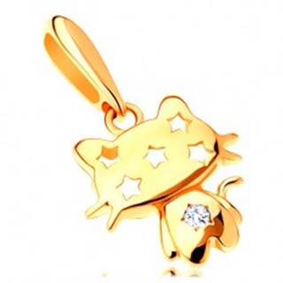Prívesok zo žltého 14K zlata - ligotavá mačička, číry zirkón, hviezdy