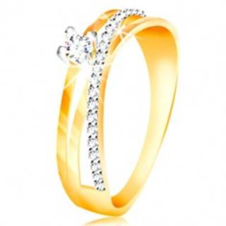 Prsteň v 14K zlate - šikmá zirkónová línia čírej farby, okrúhly zirkón v kotlíku - Veľkosť: 49 mm