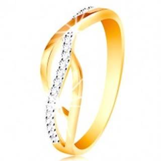 Prsteň v kombinovanom 14K zlate - prepletené hladké a zirkónové línie - Veľkosť: 49 mm