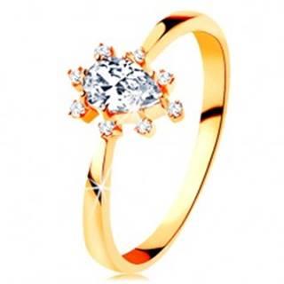 Prsteň v žltom 14K zlate - číra zirkónová kvapka, vyčnievajúce zirkóniky - Veľkosť: 49 mm