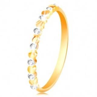 Prsteň v žltom a bielom zlate 585 - dvojfarebné kolieska a číre zirkóny - Veľkosť: 49 mm