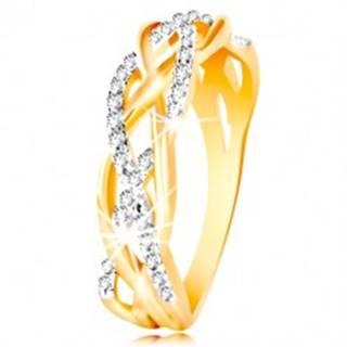 Prsteň z kombinovaného 14K zlata - prepletené hladké a zirkónové línie - Veľkosť: 48 mm