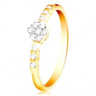Prsteň zo 14K zlata - číry ligotavý kvietok, drobné zirkóny na ramenách - Veľkosť: 49 mm