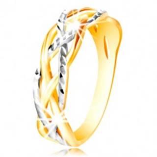 Prsteň zo 14K zlata - dvojfarebné, zvlnené a prepletené línie, zárezy - Veľkosť: 48 mm