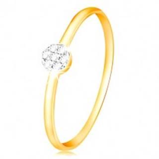 Prsteň zo zlata 585 - malý ligotavý kvietok z čírych zirkónov, tenké ramená - Veľkosť: 49 mm