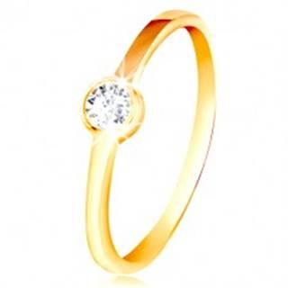 Prsteň zo žltého zlata 585 - okrúhly číry zirkón v lesklej objímke - Veľkosť: 49 mm
