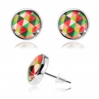 Puzetové náušnice kabošon, číre vypuklé sklo, farebné trojuholníčky