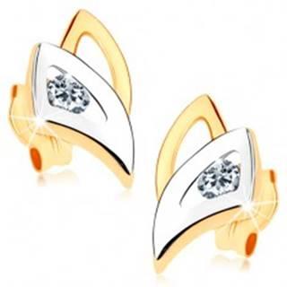 Puzetové náušnice v 9K zlate - dvojfarebné obrysy trojuholníkov, číry zirkónik