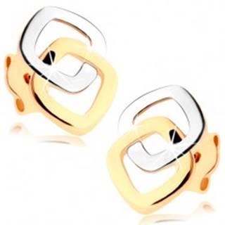 Puzetové náušnice v 9K zlate - dvojfarebné zaoblené kontúry štvorcov
