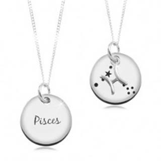 Strieborný náhrdelník 925, retiazka a okrúhly prívesok - znamenie RYBY
