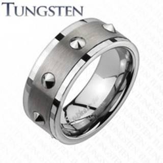 Wolfrámový prsteň - brúsený stredný pás, kužele - Veľkosť: 59 mm