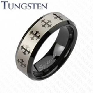 Wolfrámový prsteň s krížom a pásom striebornej farby - Veľkosť: 49 mm