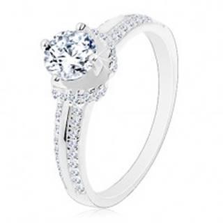 Zásnubný prsteň, striebro 925, tenké zirkónové pásy, okrúhly zirkón - Veľkosť: 48 mm