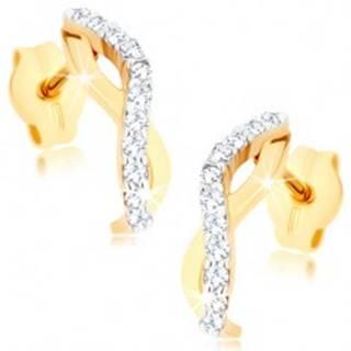 Zlaté náušnice 375 - dve zvlnené línie tvoriace oblúčik, číre zirkóny