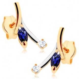 Zlaté náušnice 375 - modrý zrnkový zafír, číry zirkón, dvojfarebný konárik